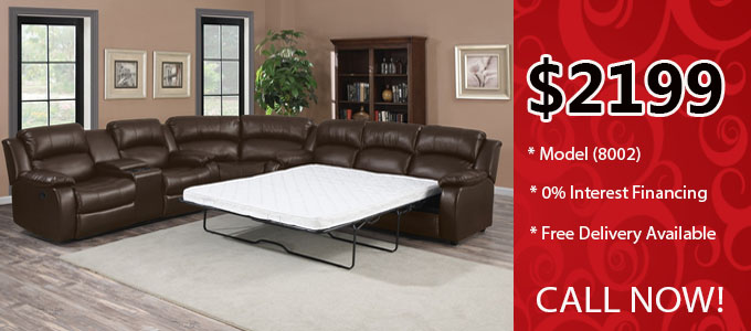 sectional sofa with built-in mattress