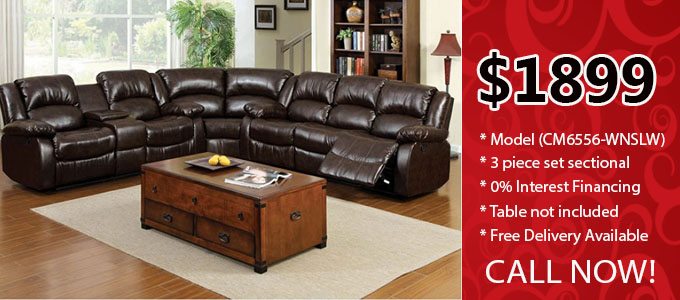 sectional 3 pieces leather set with recliners